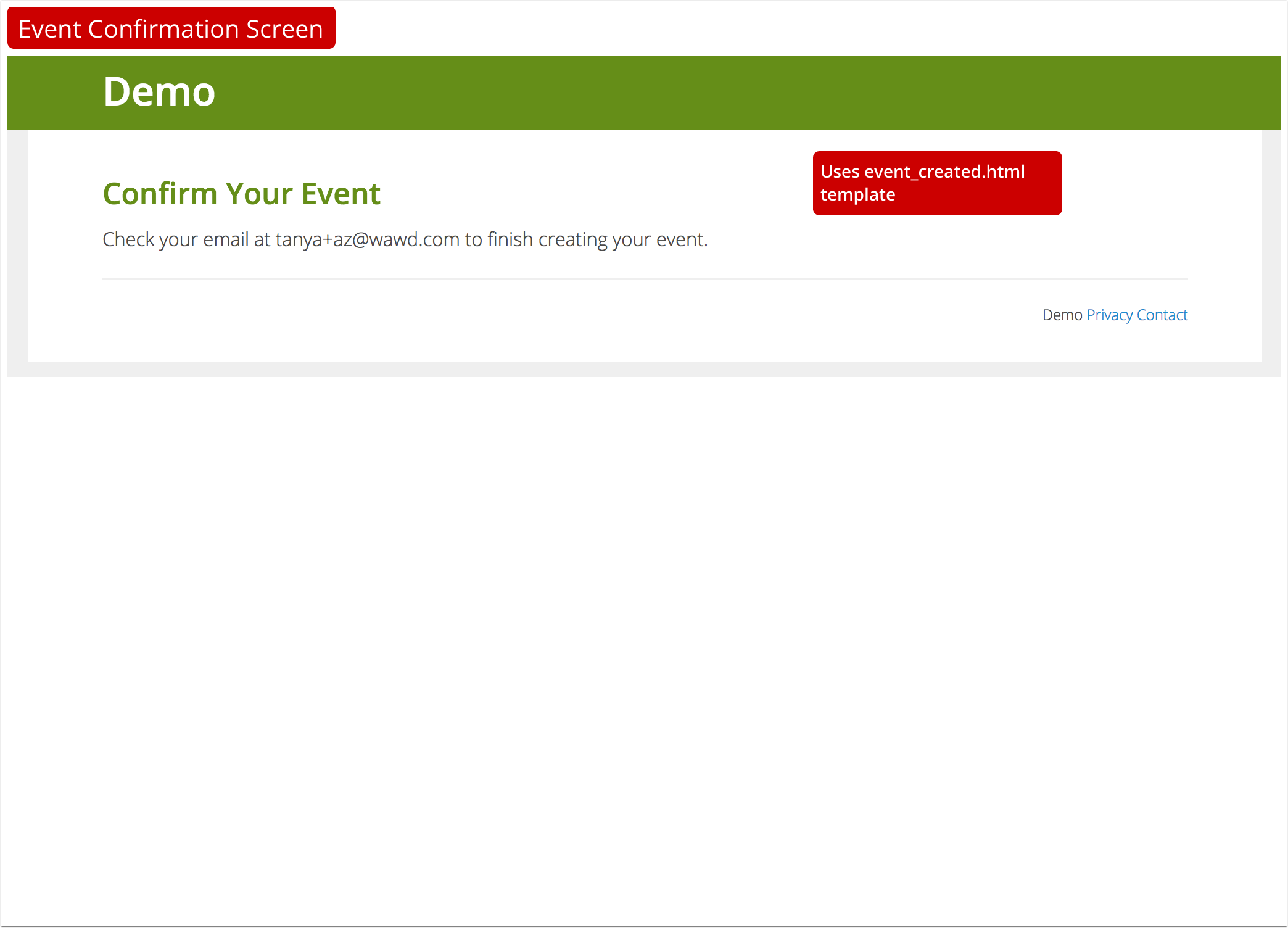 Event Confirmation Screen¶  Event Manual Template